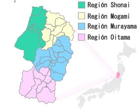 Mapa de Yamagata Japón.